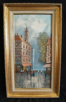 "MARY BOTTO Original Oil Painting Paris Street Scene Framed Size 29.5"" X 17.5"""
