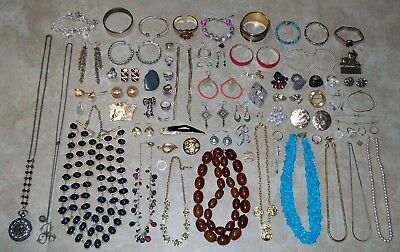 Giant Jewelry Collection Lot - 14K, 925, PEARLS, MOSAIC OPAL, HOLLYCRAFT, & MORE
