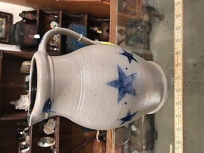 nice Rowe pottery pitcher 4 blue stencil star crock pottery nice shape