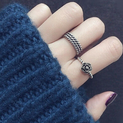 Classic Retro Ladies Girls Antique Silver Rose Flower Band Adjustable Ring Gift
