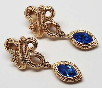 "SWAROVSKI Large 2"" Gold-Tone Openwork Sparkling Blue Dangle Earrings - GORGEOUS!"