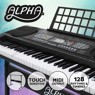 ALPHA 61 Key Lighted Electronic Piano Keyboard LCD Electric Holder Music Stand