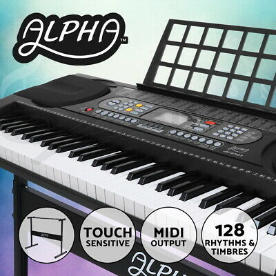 ALPHA 61 Keys Electronic Piano Keyboard LCD Electric Touch Holder Music Stand