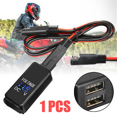 Motorcycle SAE to USB Cable Adaptor Dual USB Cell Phone Charger & Voltmeter NEW