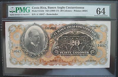 1909-17 Costa Rica,Banco Anglo Costarricense 20 Colones PMG MS-64 Pick#S124r