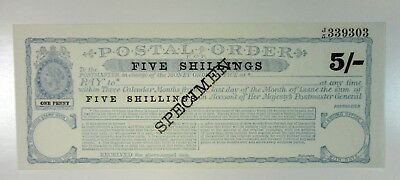 Great Britain SPECIMEN 5 Shillings ca.1960s Postal Order w/Imprinted Revenue UNC