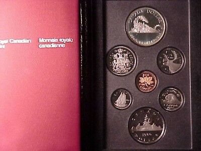 Canada Double Dollar Proof Set 1986 W/ Vancouver Train Silver $1