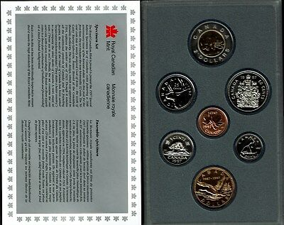 Canada 7-Coin Specimen Set 1997 Gem Bu In Case 10Th Anniversary Flying Loon