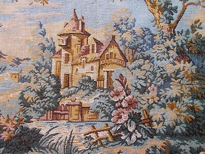Antique French Tapestry Panel~Castle Scene~For Framing Or For A Cushion