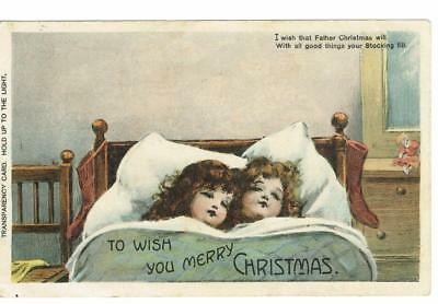 Hold To Light Girls Asleep With Santa And His Sack 1908