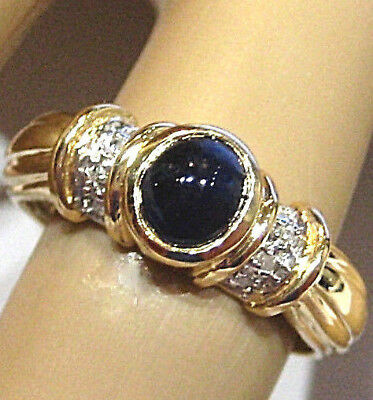 650.-€  Feiner Saphir-Cabochon-Diamanten-Ring, 585 Gold, 14kt Bicolor-Gold