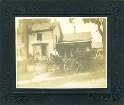 X708LB-  Vintage Matted Photo of woman in horse and buggy (Grace) abt 1911