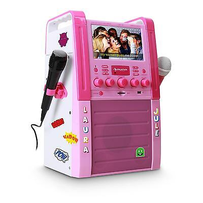 [Reconditionné] Top Set Karaoke Complet Rose Auna Lecteur Dvd Ecran Couleur Usb