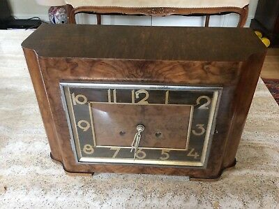 Walnut Art Deco  Chiming  Mantle  Clock With Pendulum And Key