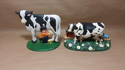 Holstein Cows /Cast Iron Holstein Cow & Cow with Boy Door Stop/Bookends Lot of 2