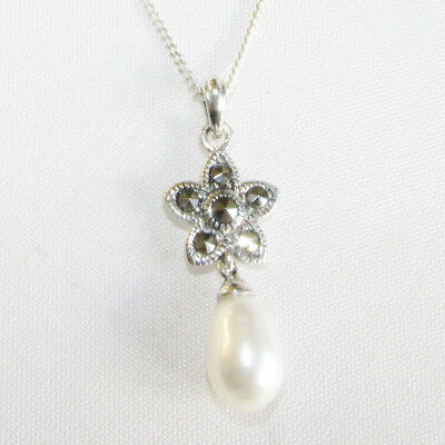 Art Deco style solid silver marcasite gemstone & pearl necklace