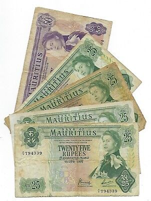 Mauritius banknote lot. 1 x 50 Rupees & 4 x 25 Rupees. MD-5159