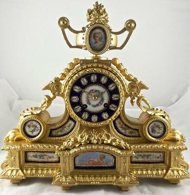 Superb antique French Japy Freres 19th c gilt & Sevres porcelain mantle clock