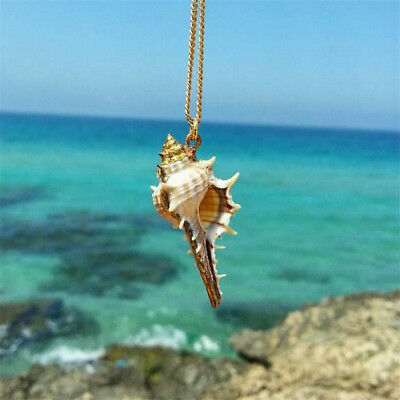 Women Gold Plated Conch Lovely Pendant Chain Necklace Beach Holiday Jewelry
