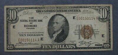 1929 Federal Reserve Bank RICHMOND  $10 National Currency Note - Circulated