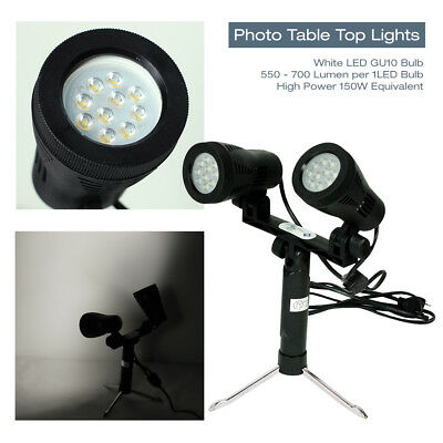 "9.5"" LED 150W Double Head Photography Photo Studio Table Top Lights w/ Stand"
