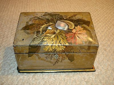 Hand painted 1850's wood jewelry box coral shell design inlaid mother of pearl