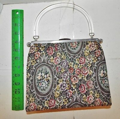 L&m Tapestry 3 In 1 Handbag With Clear Lucite Hand By Edwards  No Reserve