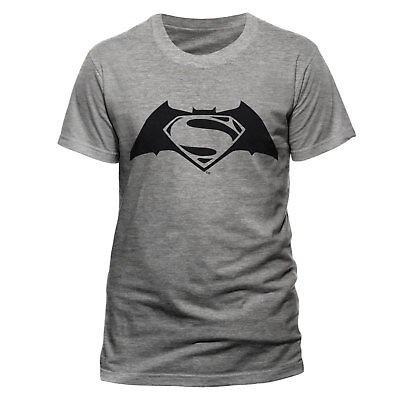 Official Batman V's Superman Black Logo t-shirt DC Comics Mens Grey M L XXL