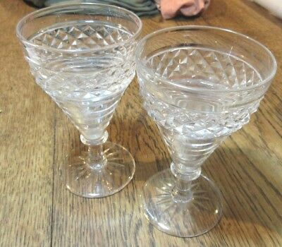 Lovely Pair Antique Cut Lead Crystal Glass Cordial Goblets C. 1840