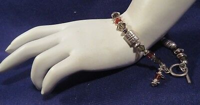 """Vintage Coated Wire Brown Bead & Silver Tone Maybe SS Toggle Clasp Bracelet 16"""""""