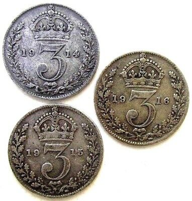 Great Britain Uk Coins, Threepence 1914 & 1915 & 1916, George V, Silver 0.925