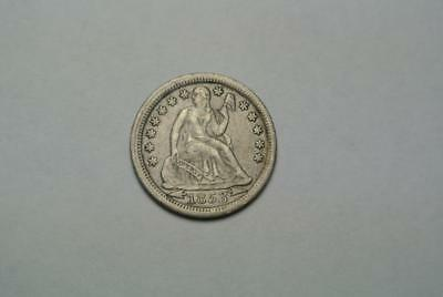1853 Seated Liberty Dime, With Arrows, VF Condition - C5667