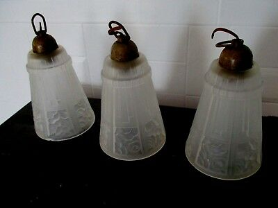 ART DECO Lot de 3 anciennes tulipes pate de verre / Lustre Suspension