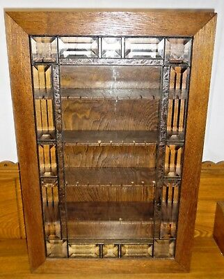 "Beautiful Oak & Leaded Glass Souvenir Spoon Display Case - 22 7/8"" x 15 1/4"""