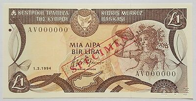 CYPRUS-SPECIMEN 1 POUND-1994-PICK 53s-SERIAL NUMBER 000000 , UNC .