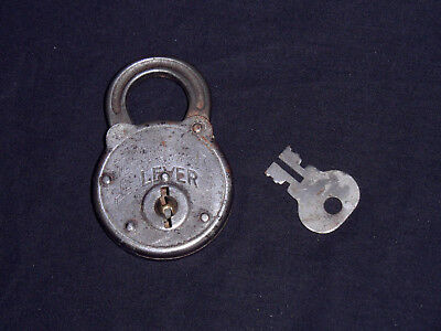 Antique Power Lever Padlock With Original Key! Works Great! Vintage!