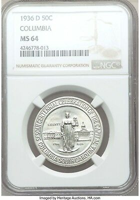 1936-D Columbia Silver Half Dollar Commemorative MS64 NGC ... 8,009 Minted