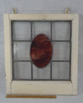 antique leaded stained glass window white frame 17 x 19 in. original  1890