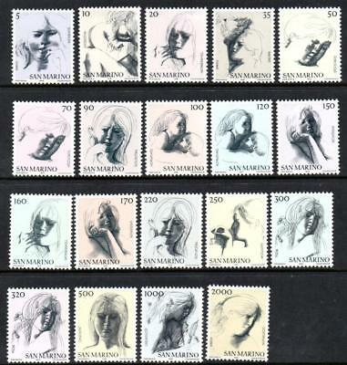 SAN MARINO MNH 1976 SG1039a-1055a THE CIVIL VIRTUES - SKETCHES BY EMILIO GRECO