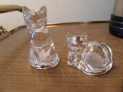 """Crystal Kitty Cat Salt and Pepper Shakers 3.25"""" tall"""