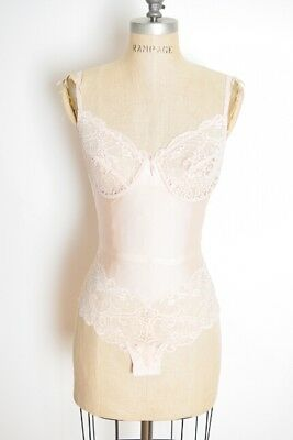 vintage 80s teddy champagne nude stretch lace lingerie bodysuit negligee XS S