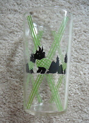 SCOTTY SCOTCH TERRIER DOG - Vintage 1930s  DECO CLEAR GLASS TUMBLER SWIG 4.75""