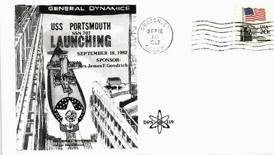 Dr Jim Stamps Us Naval Uss Portsmouth Submarine Launching Cover 1982