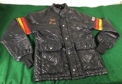 vtg Simpson Black Puffer Racing Jacket M Made In The USA