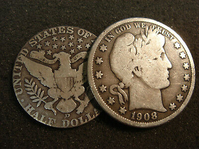 1908-D Barber Half Dollar Magic Trick Coin Rev changes to Large ONE CENT Rev