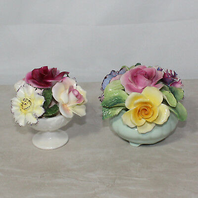 Lot of Two Bone China Porcelain Floral Arrangements, Made in England, No Boxes