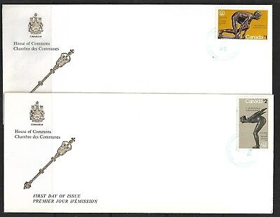 """Canada, 2 X Fdc, """"house Of Commons"""", """"olympic Sculptures"""" Scott 656/657"""