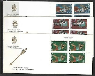 """Canada, 3 X Fdc, """"house Of Commons"""", """"track & Field Sports"""" Scott 664-666"""