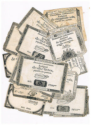 France Revolution Assignat Lot 17 Banknotes 1792-93 Lox Condition