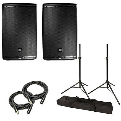 """JBL EON615 Powered 15"""" 2-Way Speaker System Pair w/ Tripod Stands, Bag, Cables"""